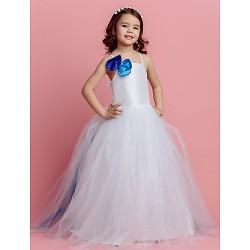 Ball Gown Sweep Brush Train Flower Girl Dress Tulle Sleeveless