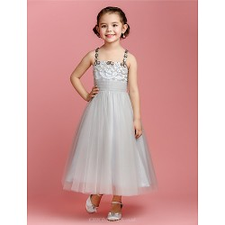 A Line Princess Ankle Length Flower Girl Dress Tulle Sleeveless