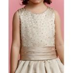 A-line Floor-length Flower Girl Dress - Satin Sleeveless Flower Girl Dresses