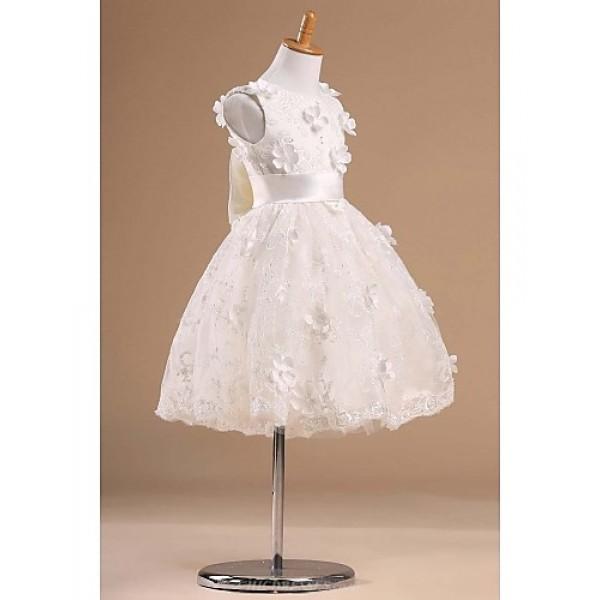 Flower Girl Dress Knee-length Satin/Tulle Princess Sleeveless Dress Flower Girl Dresses