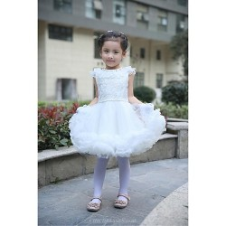 Ball Gown Knee Length Flower Girl Dress Satin Tulle Short Sleeve