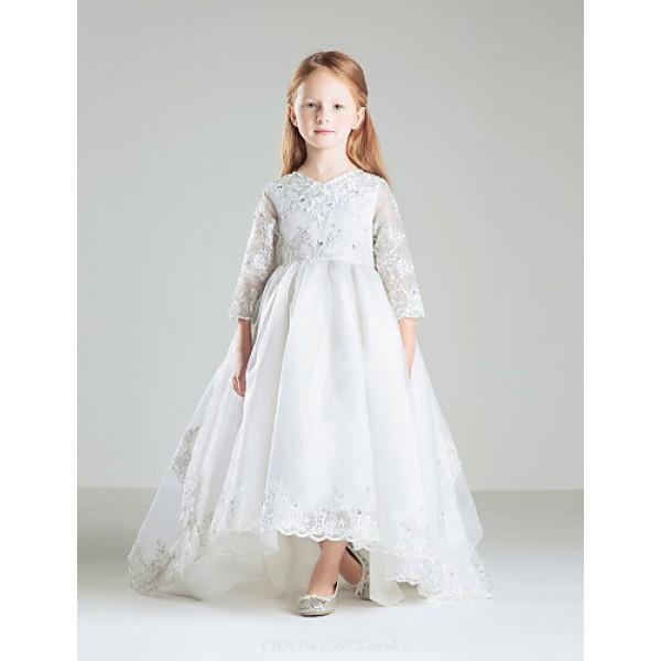 Ball Gown Sweep/Brush Train Flower Girl Dress - Satin 3/4 Length Sleeve Flower Girl Dresses