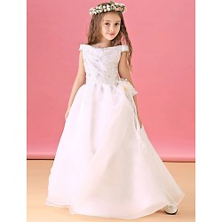 A Line Floor Length Flower Girl Dress Organza Satin Short Sleeve