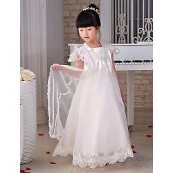 Flower Girl Dress Floor Length Lace Organza Princess Short Sleeve Dress