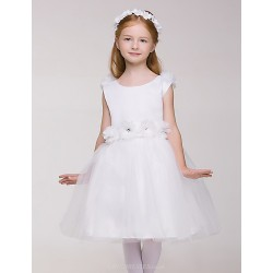 Flower Girl Dress Knee Length White Sleeveless Princess Dress (without Headgear)