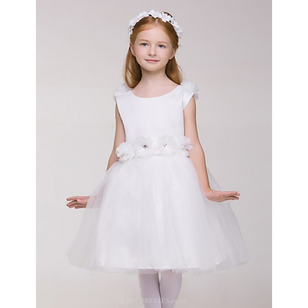 Flower Girl Dress Knee-length White Sleeveless Princess Dress (without headgear) Flower Girl Dresses