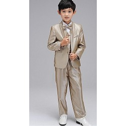 Ring Bearer Suit Gold Uniform Cloth 5 Suit Flower Girl Dress