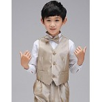 Ring Bearer Suit Gold Uniform Cloth 5 Suit Flower Girl Dress Flower Girl Dresses