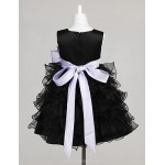 Engagement Party / Bridal Shower / Formal Evening / Wedding Party Dress - Black A-line / Ball Gown / Princess Jewel Knee-length Tulle Flower Girl Dresses