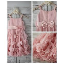 A-line Knee-length Flower Girl Dress - Chiffon Sleeveless