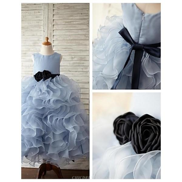 Ball Gown Floor-length Flower Girl Dress - Organza / Satin Sleeveless Flower Girl Dresses