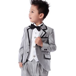 Black Silver Cotton Polyester Ring Bearer Suit 5 Pieces