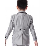 Black / Silver Cotton / Polyester Ring Bearer Suit - 5 Pieces Flower Girl Dresses