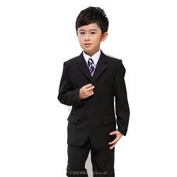 Black Polester/Cotton Blend Ring Bearer Suit - 7 Pieces