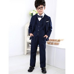 Black White Polester Cotton Blend Ring Bearer Suit 4 Pieces