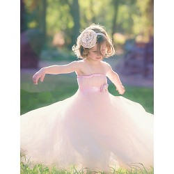 Ball Gown Ankle Length Flower Girl Dress Tulle Polyester Sleeveless