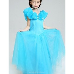 Ball Gown Floor-length Flower Girl Dress - Satin / Tulle Sleeveless