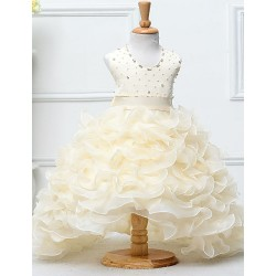 Ball Gown Chapel Train Flower Girl Dress - Satin / Tulle Sleeveless