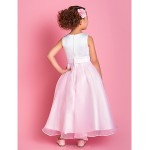 A-line Ankle-length Flower Girl Dress - Organza/Satin Sleeveless Flower Girl Dresses