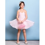 Knee-length Chiffon Junior Bridesmaid Dress - Blushing Pink A-line Spaghetti Straps Junior Bridesmaid Dresses