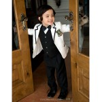 Black/White Serge Ring Bearer Suit - 5 Pieces Flower Girl Dresses