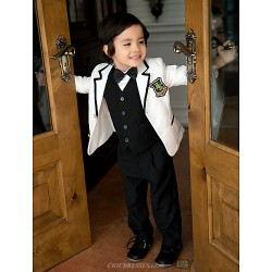 Black/White Serge Ring Bearer Suit - 5 Pieces