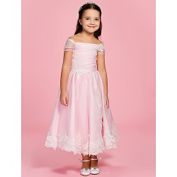 A Line Princess Ankle Length Flower Girl Dress Organza Short Sleeve