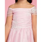 A-line/Princess Ankle-length Flower Girl Dress - Organza Short Sleeve Flower Girl Dresses