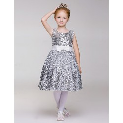 A Line Knee Length Flower Girl Dress Sequined Polyester Sleeveless