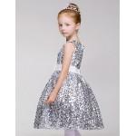 A-line Knee-length Flower Girl Dress - Sequined/Polyester Sleeveless Flower Girl Dresses