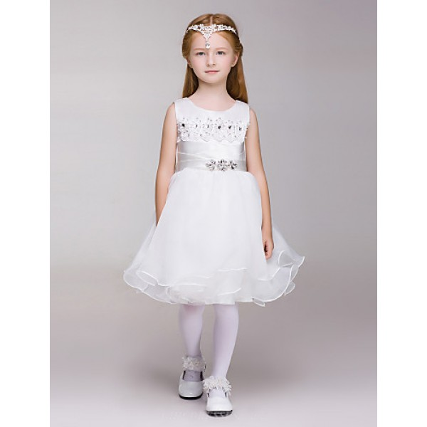 A-line Knee-length Flower Girl Dress - Lace/Tulle/Polyester Sleeveless Flower Girl Dresses