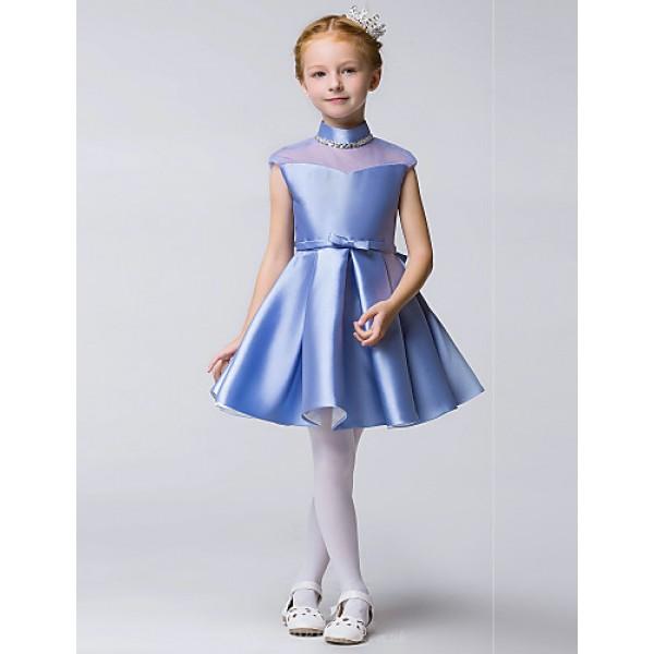 A-line Knee-length Flower Girl Dress - Tulle / Polyester Sleeveless Flower Girl Dresses