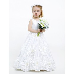 A-line Floor-length Flower Girl Dress - Taffeta Sleeveless