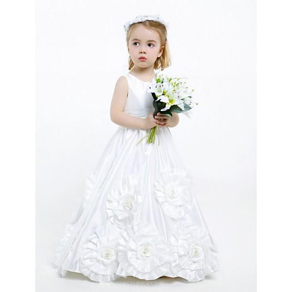 A-line Floor-length Flower Girl Dress - Taffeta Sleeveless Flower Girl Dresses