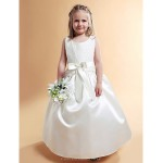 A-line/Princess Floor-length Flower Girl Dress - Satin/Lace Sleeveless Flower Girl Dresses