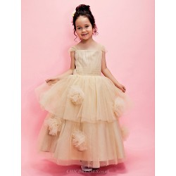 Ball Gown A Line Ankle Length Flower Girl Dress Tulle Short Sleeve