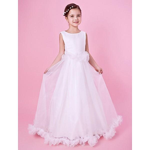 A-line/Princess Floor-length Flower Girl Dress - Satin/Organza Sleeveless Flower Girl Dresses