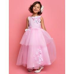 A-line/Princess Ankle-length Flower Girl Dress - Satin/Tulle Sleeveless