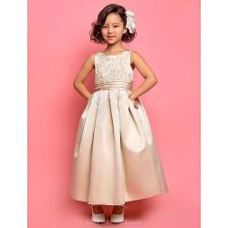 A Line Princess Ankle Length Flower Girl Dress Satin Sleeveless