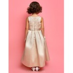 A-line/Princess Ankle-length Flower Girl Dress - Satin Sleeveless Flower Girl Dresses