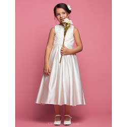 A Line Princess Ankle Length Flower Girl Dress Satin Sleeveless