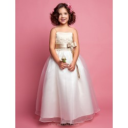 A Line Princess Floor Length Flower Girl Dress Organza Satin Sleeveless
