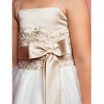 A-line/Princess Floor-length Flower Girl Dress - Organza/Satin Sleeveless Flower Girl Dresses