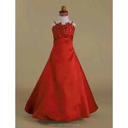 A Line Princess Floor Length Flower Girl Dress Satin Sleeveless
