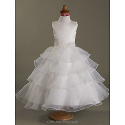 A Line Princess Ball Gown Tea Length Flower Girl Dress Satin Organza Sleeveless
