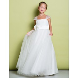 A Line Floor Length Flower Girl Dress Tulle Sleeveless