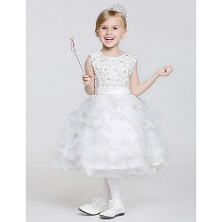 A-line Tea-length Flower Girl Dress - Lace/Tulle/Polyester Sleeveless