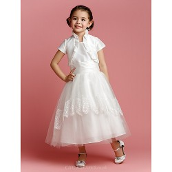 A Line Princess Tea Length Flower Girl Dress Taffeta Tulle Short Sleeve