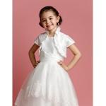 A-line/Princess Tea-length Flower Girl Dress - Taffeta/Tulle Short Sleeve Flower Girl Dresses