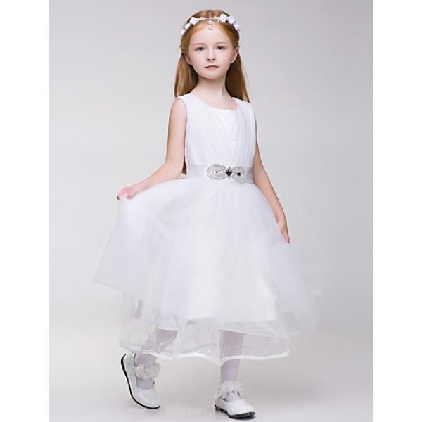 Flower Girl Dress Knee-length Tulle/Polyester Sleeveless Dress Flower Girl Dresses